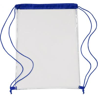 Image of Transparent PVC drawstring bag.